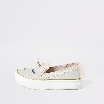 Mini girls pink glitter unicorn plimpsolls