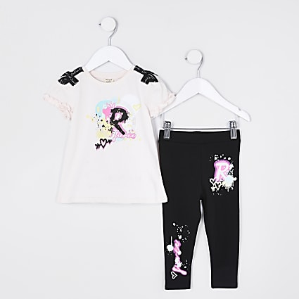 Mini girls pink graffiti bow leggings outfit