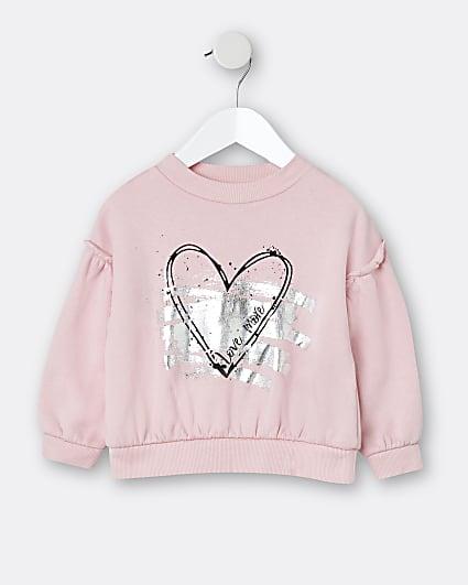 Mini girls pink heart print sweatshirt