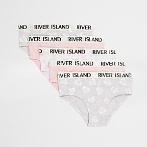 Mini - Multipack roze slipjes met RI-logo en hartenprint voor meisjes