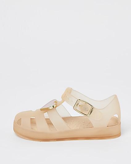 Mini girls pink heart trim jelly sandals
