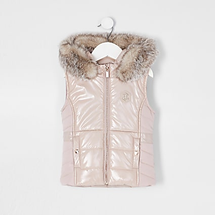 Mini girls pink high shine harvey gilet