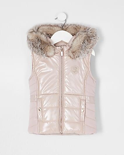 Mini girls pink high shine harvey gilet