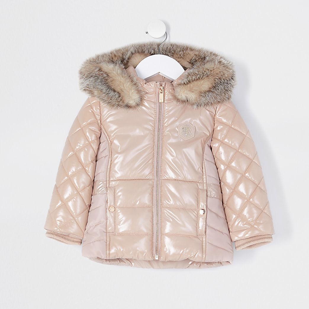 Mini girls pink highshine puffer jacket