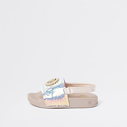 Mini girls pink holographic monogram sliders