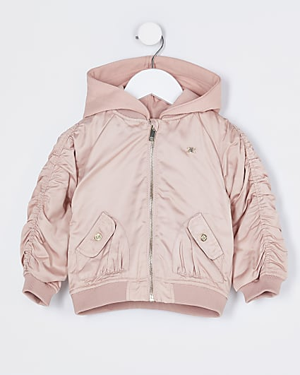 Mini girls pink hooded rouched bomber jacket