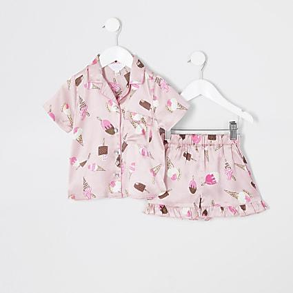 Mini girls pink ice cream printed pyjamas