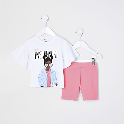 Mini girls pink 'Influencer' shorts outfit