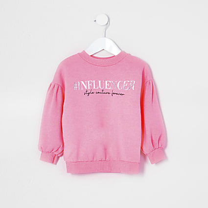 Mini girls pink 'Influencer' sweatshirt