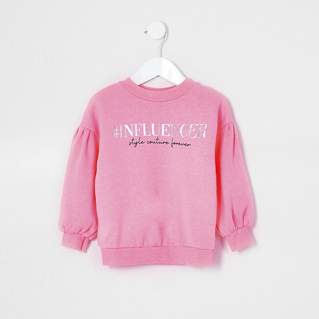 Mini girls pink 'Influencer' sweatshirt