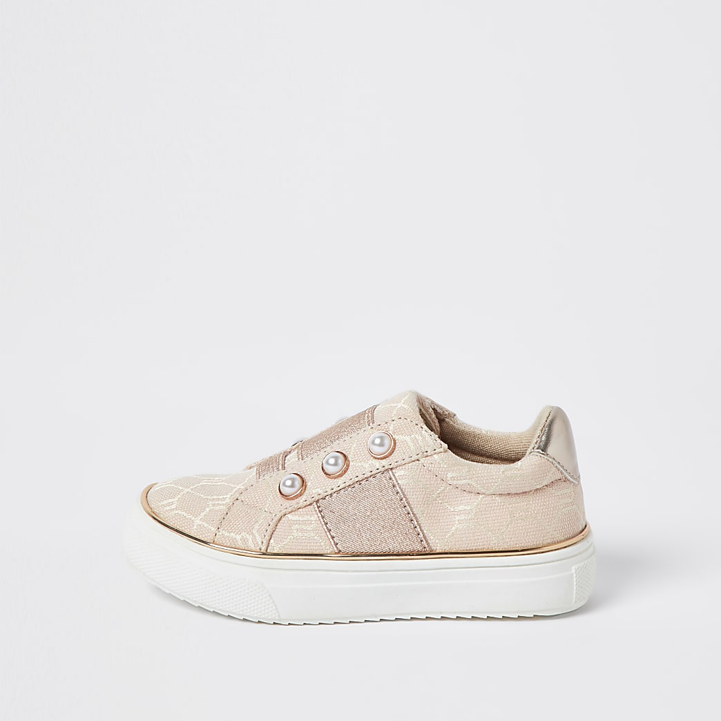 Mini girls pink jacquard cone strap trainers