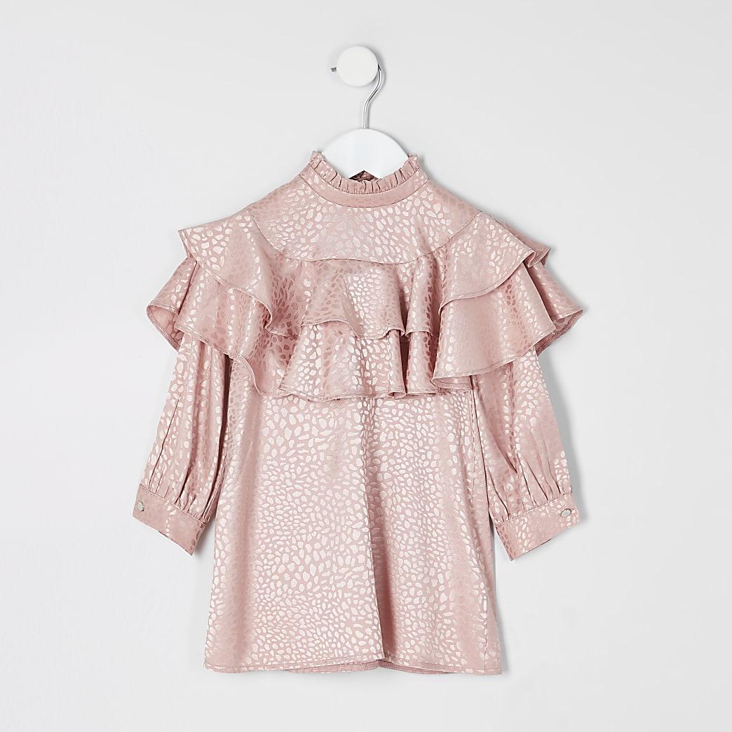 Mini girls pink jacquard frill trapeze dress