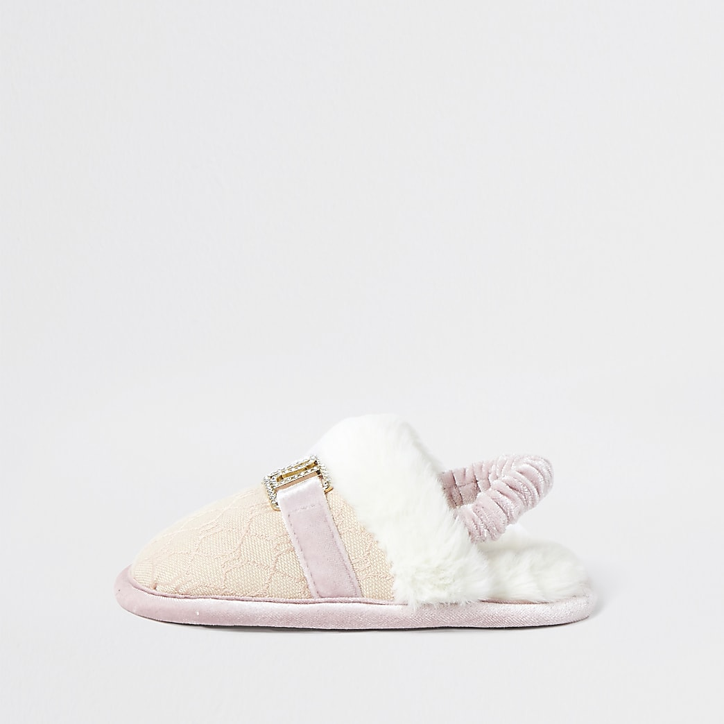 Mini girls pink jacquard RI slippers