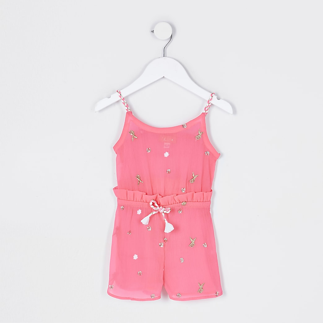 Mini girls pink jewel embellished playsuit