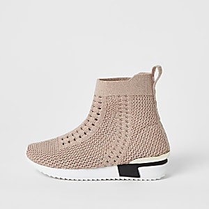 Mini - Roze gebreide hoge sneakers voor meisjes