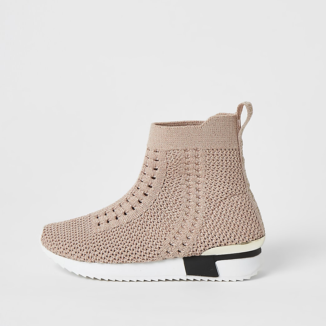 Mini girls pink knitted high top trainers