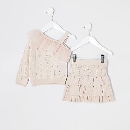 Mini girls pink knitted rara skirt outfit