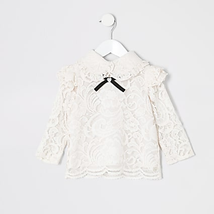 Mini girls pink lace bow collar top