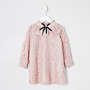 Mini girls pink lace bow neck dress