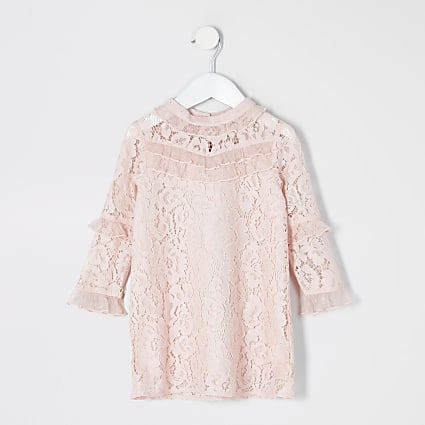 Mini girls pink lace chiffon frill dress