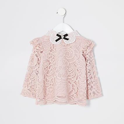 Mini girls pink lace embellished collar top