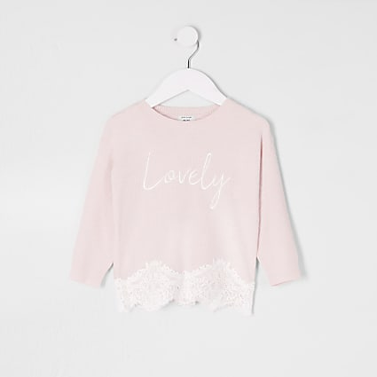 Mini girls pink lace hem jumper