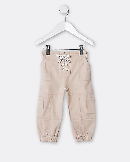 Mini girls pink lace up cargo trousers
