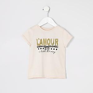 """Mini– Pinkes T-Shirt""""L'amour"""" mit Folienprint für Mädchen"""