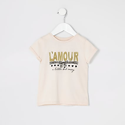 Mini girls pink 'L'amour' foil print T-shirt