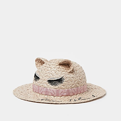 Mini girls pink lash straw hat