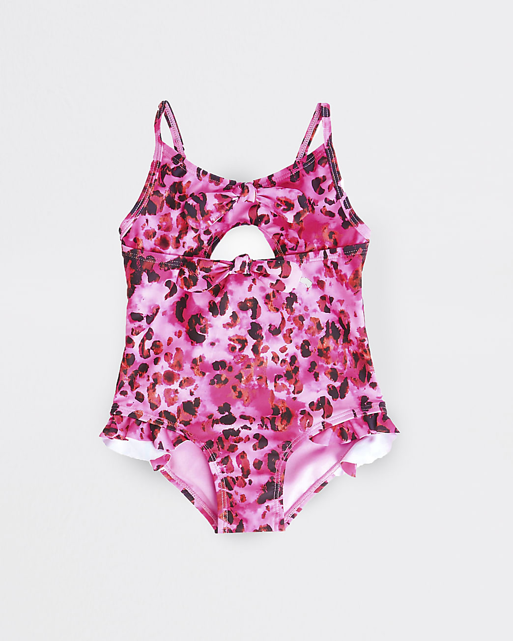 Mini girls pink leopard cut out swimsuit