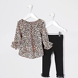 Mini - Roze outfit met blouse met luipaardprint voor meisjes
