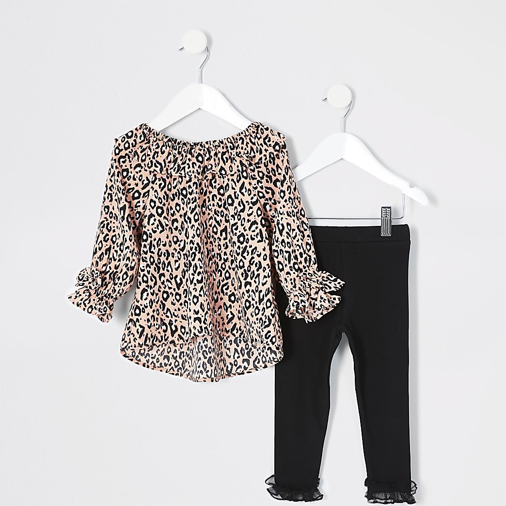 Mini girls pink leopard print blouse outfit