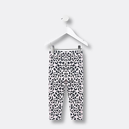 Mini girls pink leopard print legging set