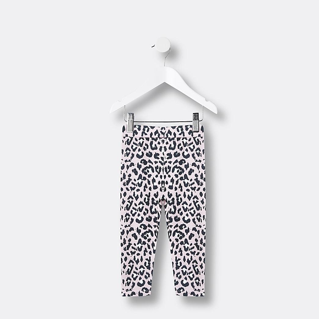 Mini girls pink leopard print legging set