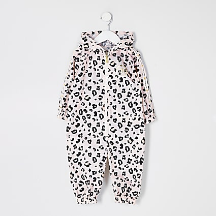 Mini girls pink leopard print puddlesuit