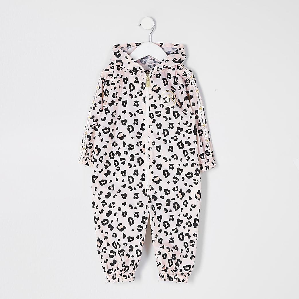 Mini girls pink leopard print puddlesuit