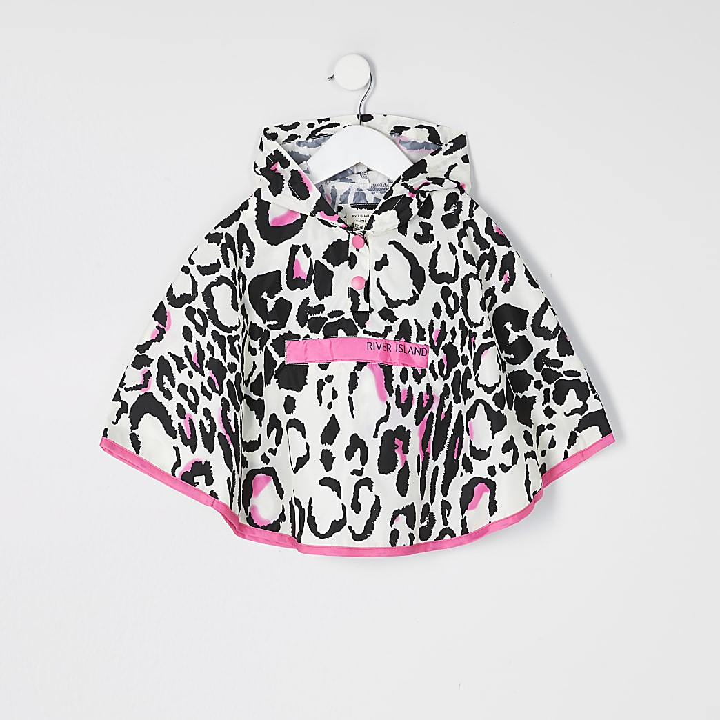 Mini girls pink leopard print rain mac poncho