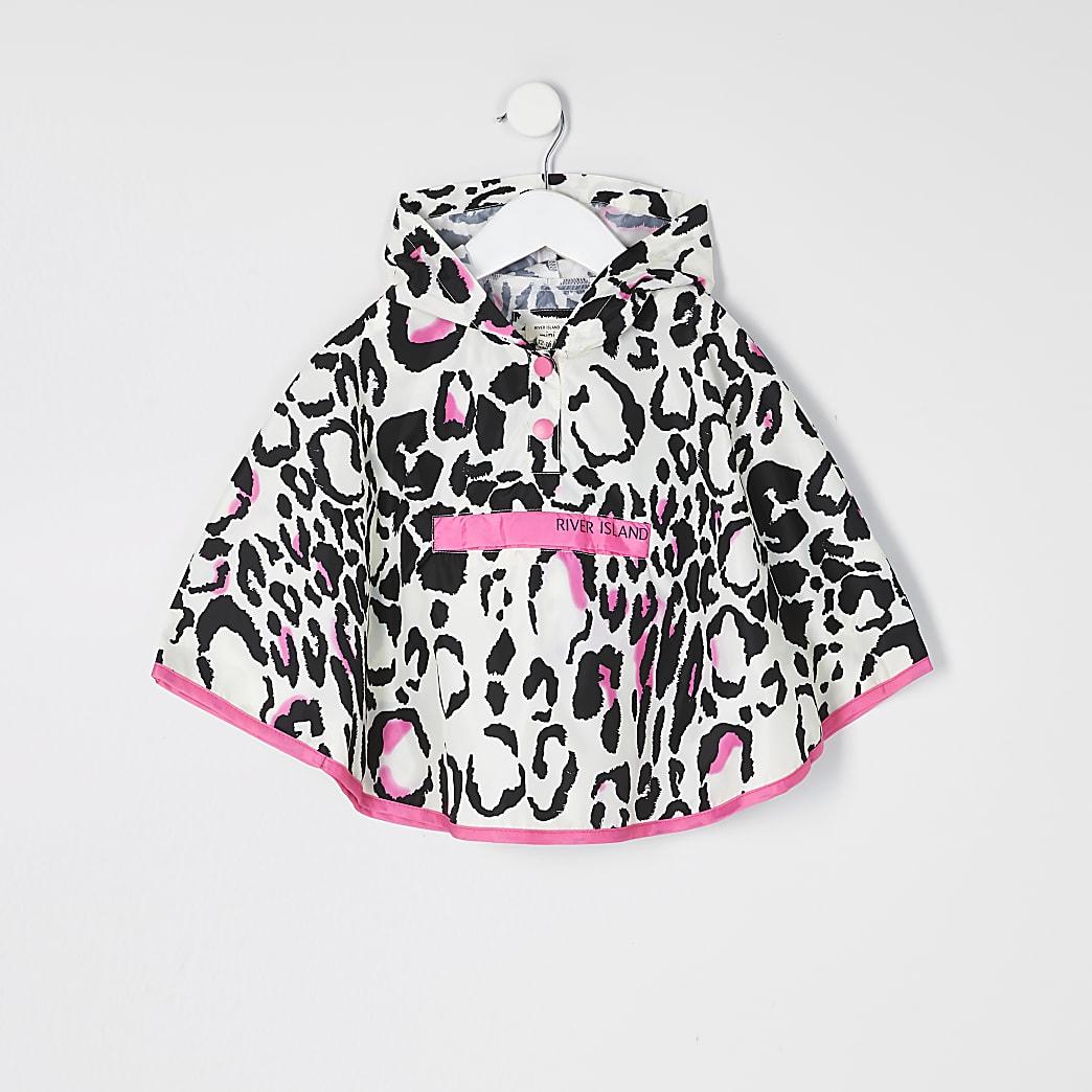 Mini – Pinker Regen-Poncho mit Leoprint für Mädchen