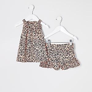 Mini - Roze A-lijnoutfit met luipaardprint