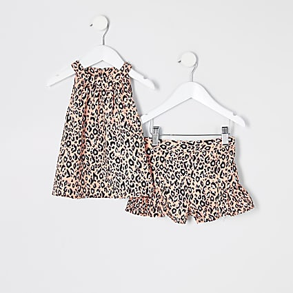 Mini girls pink leopard print trapeze outfit