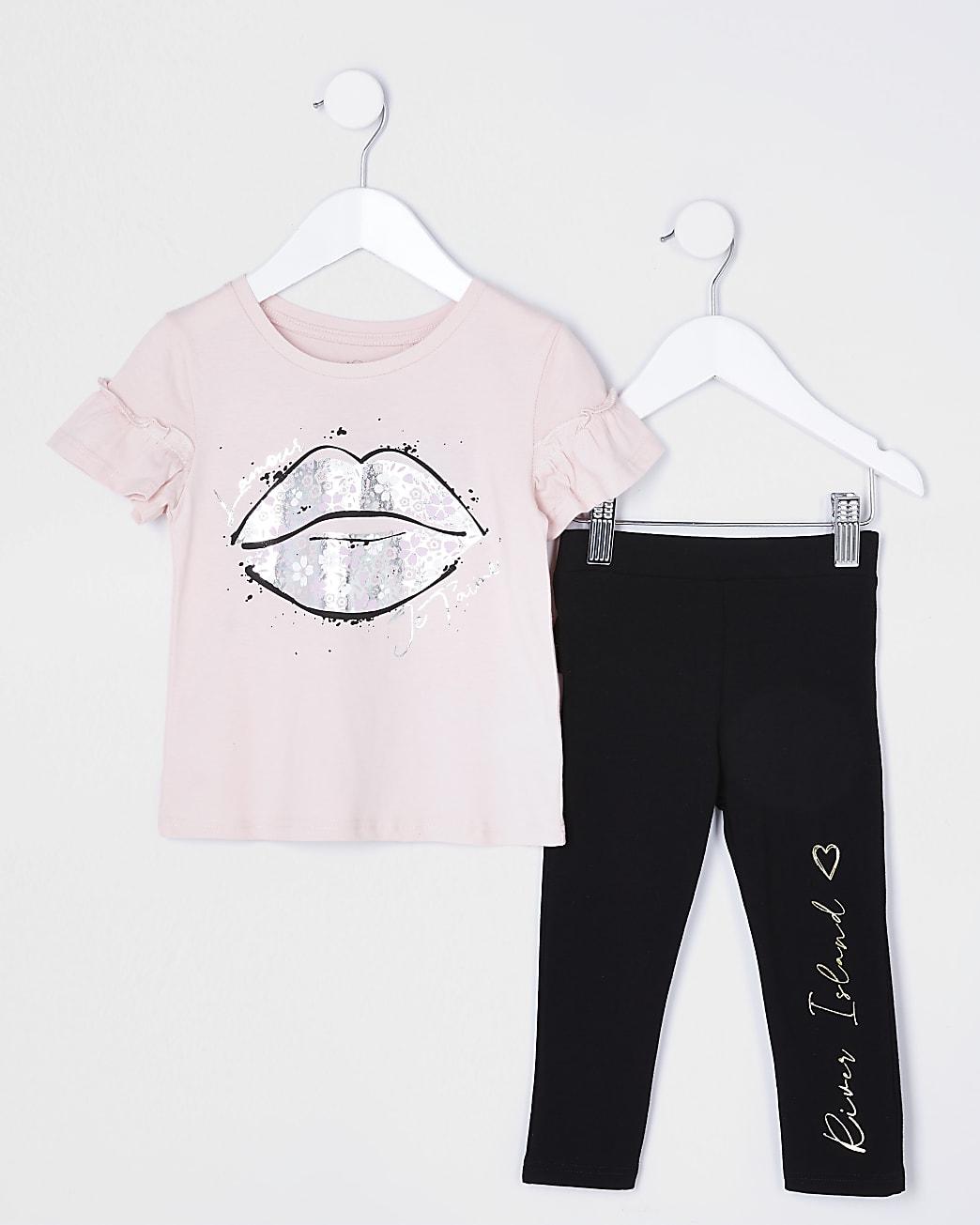 Mini girls pink lips frill t-shirt outfit