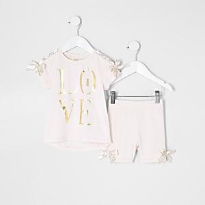 Mini - Roze T-shirt outfit met 'Love'-print en strik voor meisjes