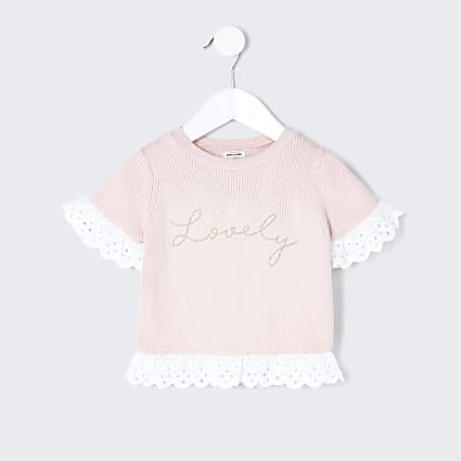 Mini girls pink lovely broderie detail top