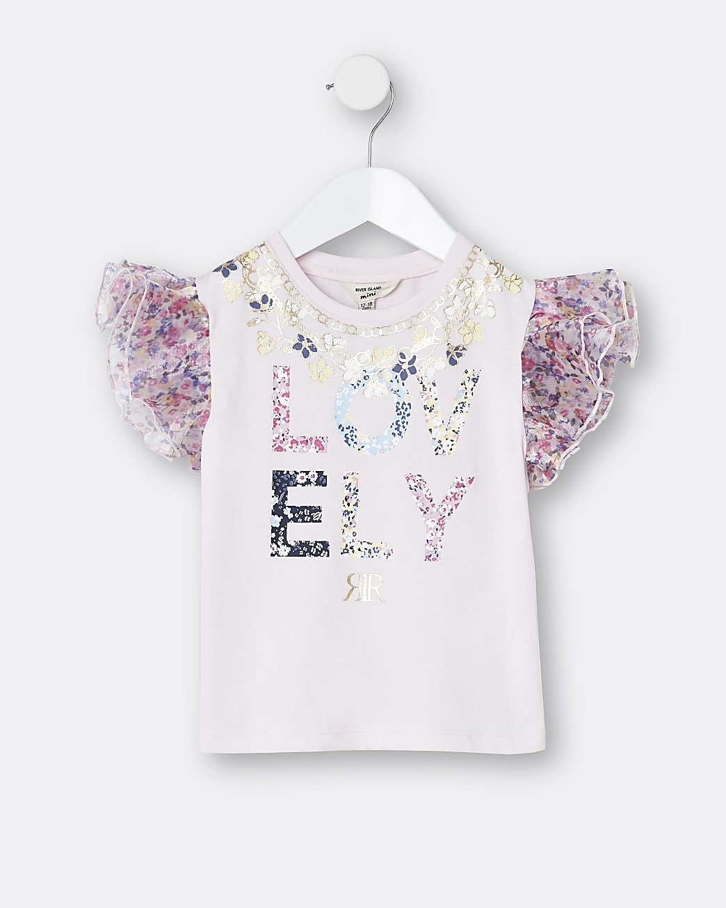 Mini girls pink 'Lovely' organza t-shirt