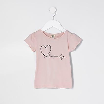 Mini girls pink 'Lovely' t-shirt