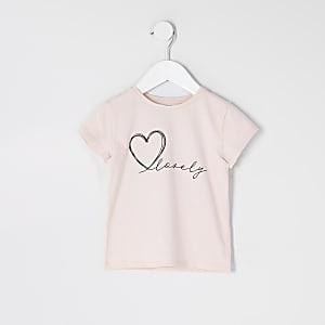 T-shirt «lovely» rose pour mini fille