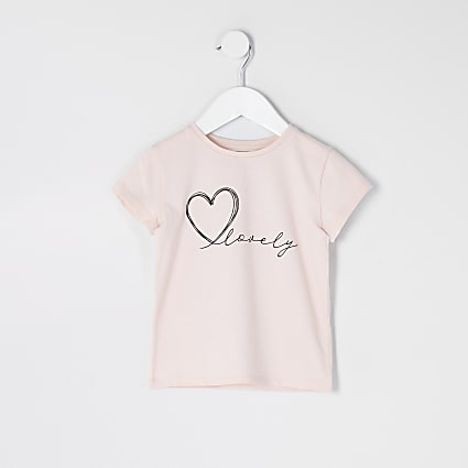 Mini girls pink 'Lovely' T-shirt
