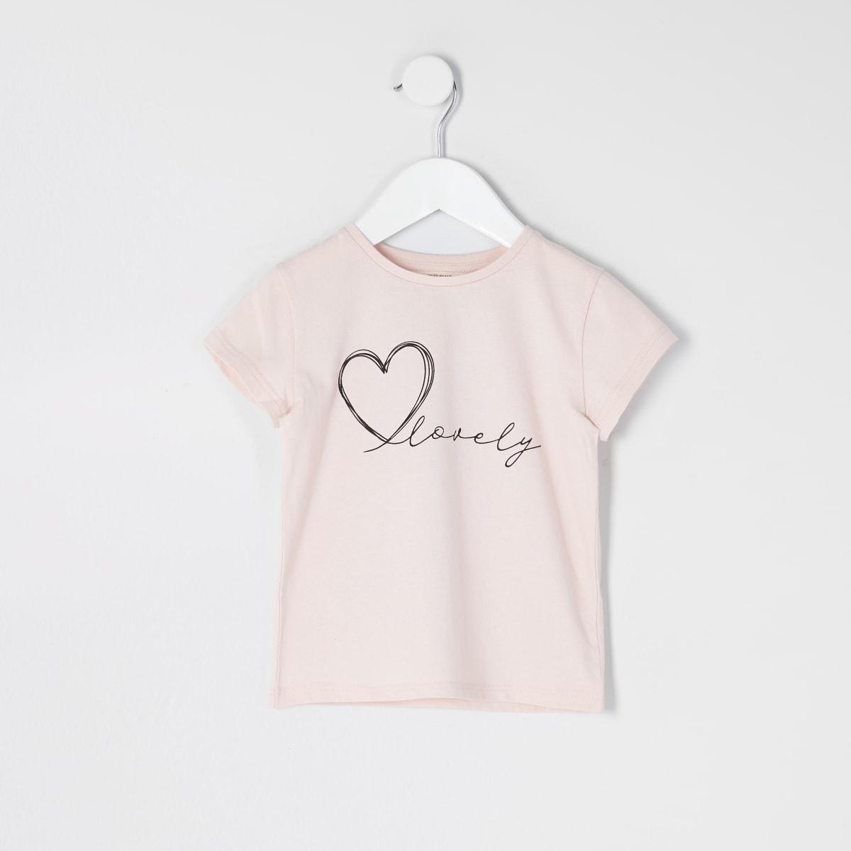 Mini - Roze T-shirt met 'Lovely'-tekst voor meisjes
