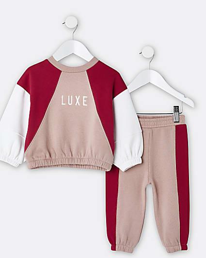 Mini girls pink 'Luxe' sweatshirt and joggers